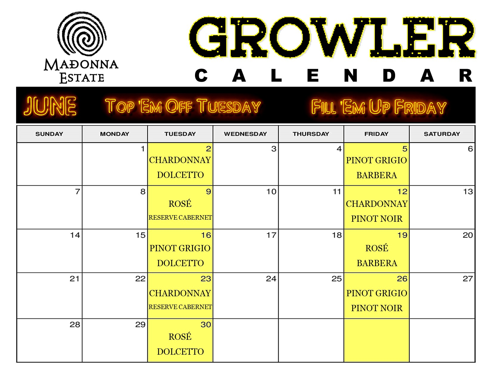 JUNE Growler Calendar